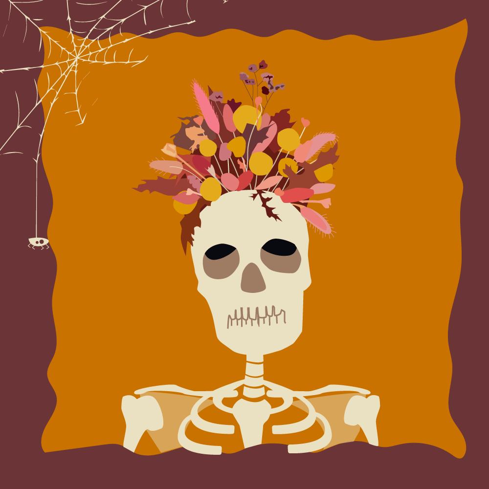 El día de los muertos con flores